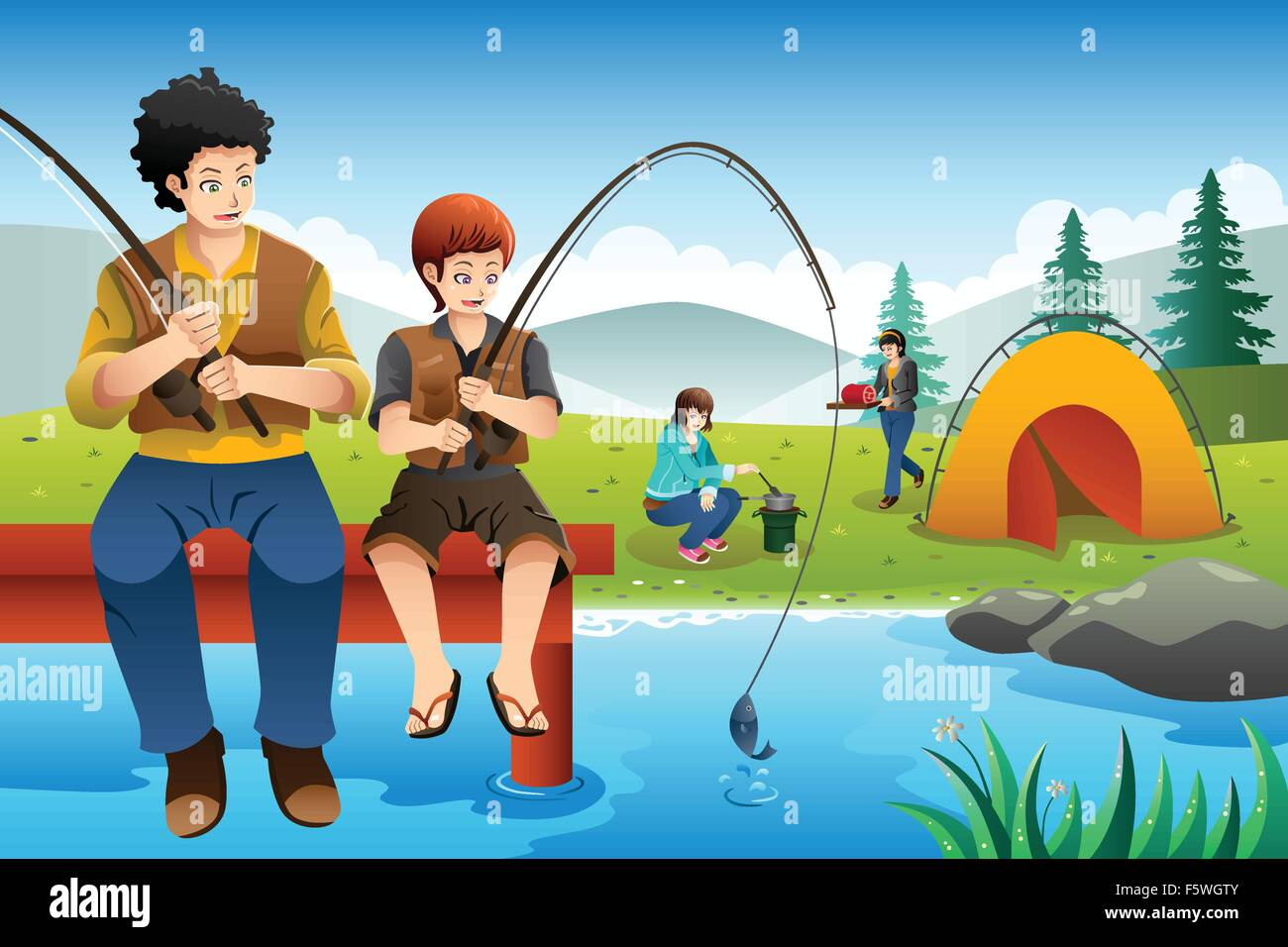 A Vector Illustration Of Dad And Son Fishing While Mom Daughter Cooking Near The Camping