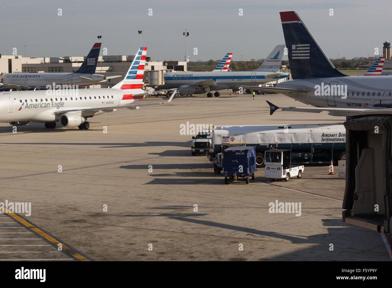 American Airlines And Us Airways Airlplane Jets At