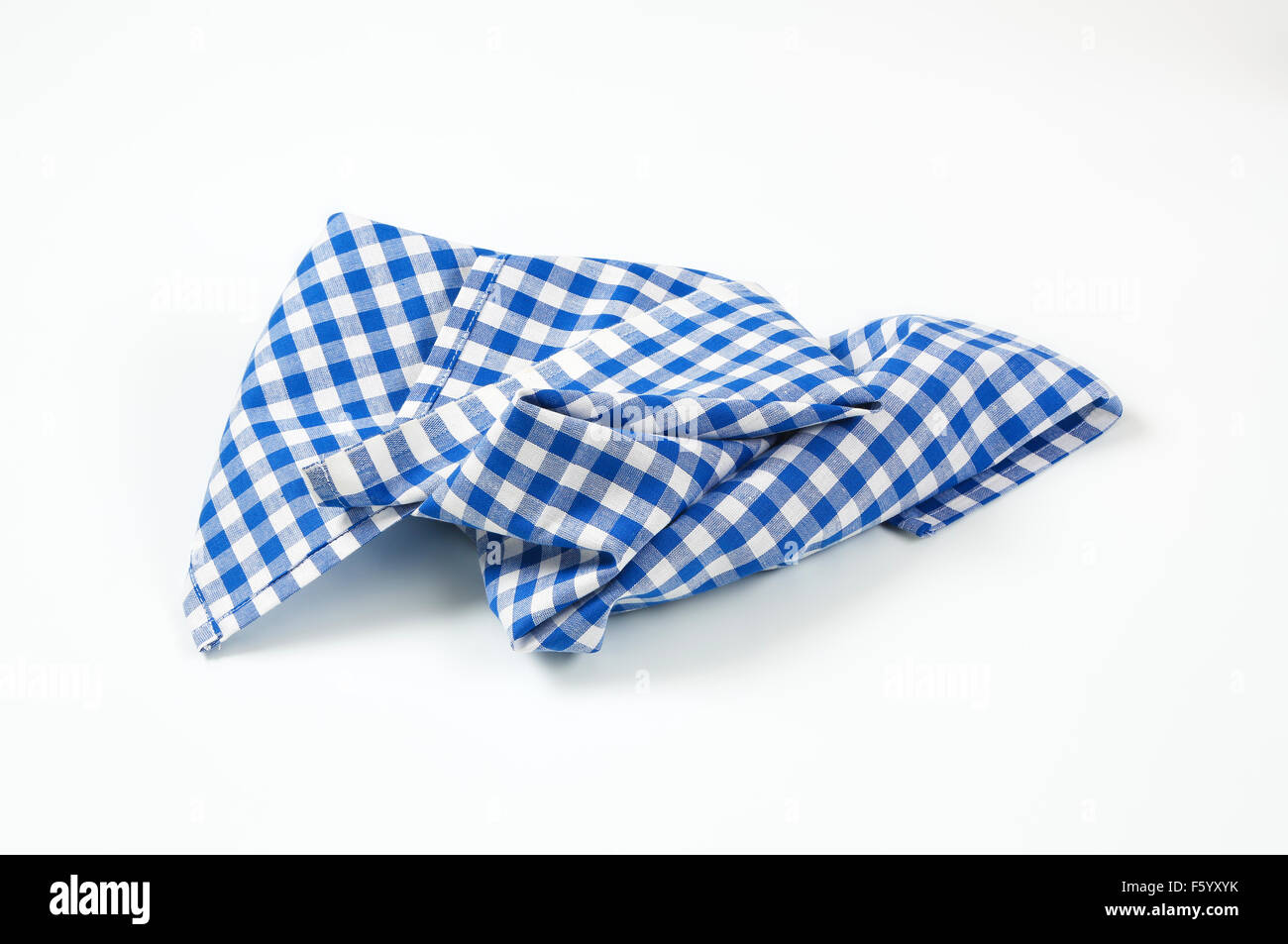 Stock Photo   Blue And White Checkered Tablecloth On White Background