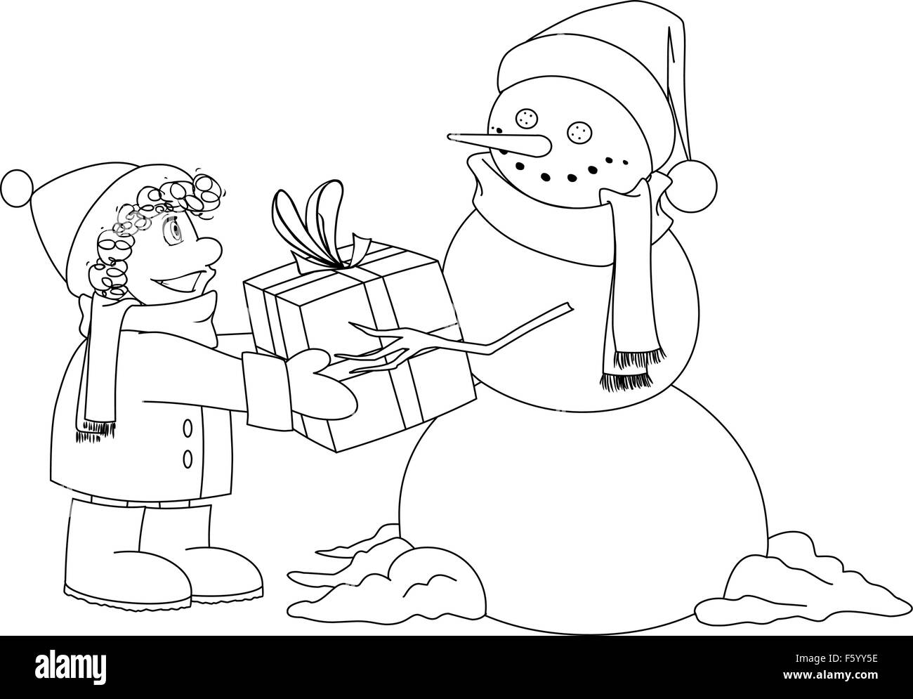 vector illustration coloring page of a snowman giving a present to