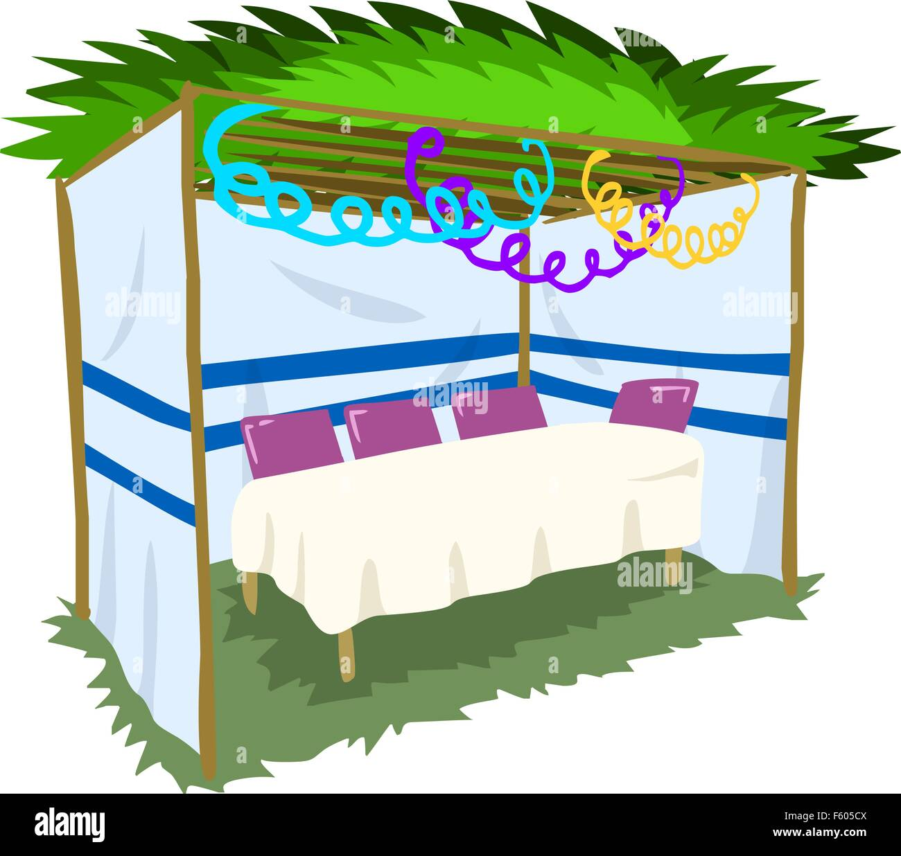 Vector illustration of Sukkah with ornaments and table for the Jewish Holiday Sukkot. - Stock  sc 1 st  Alamy & Sukkah for the Sukkot holiday. Jewish tent to celebrate. Isolated ...