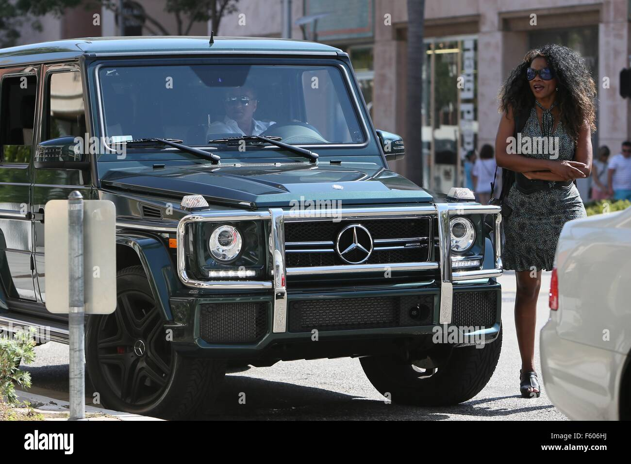 Sylvester Stallone Seen Sitting In His Car In Beverly Hills Stock