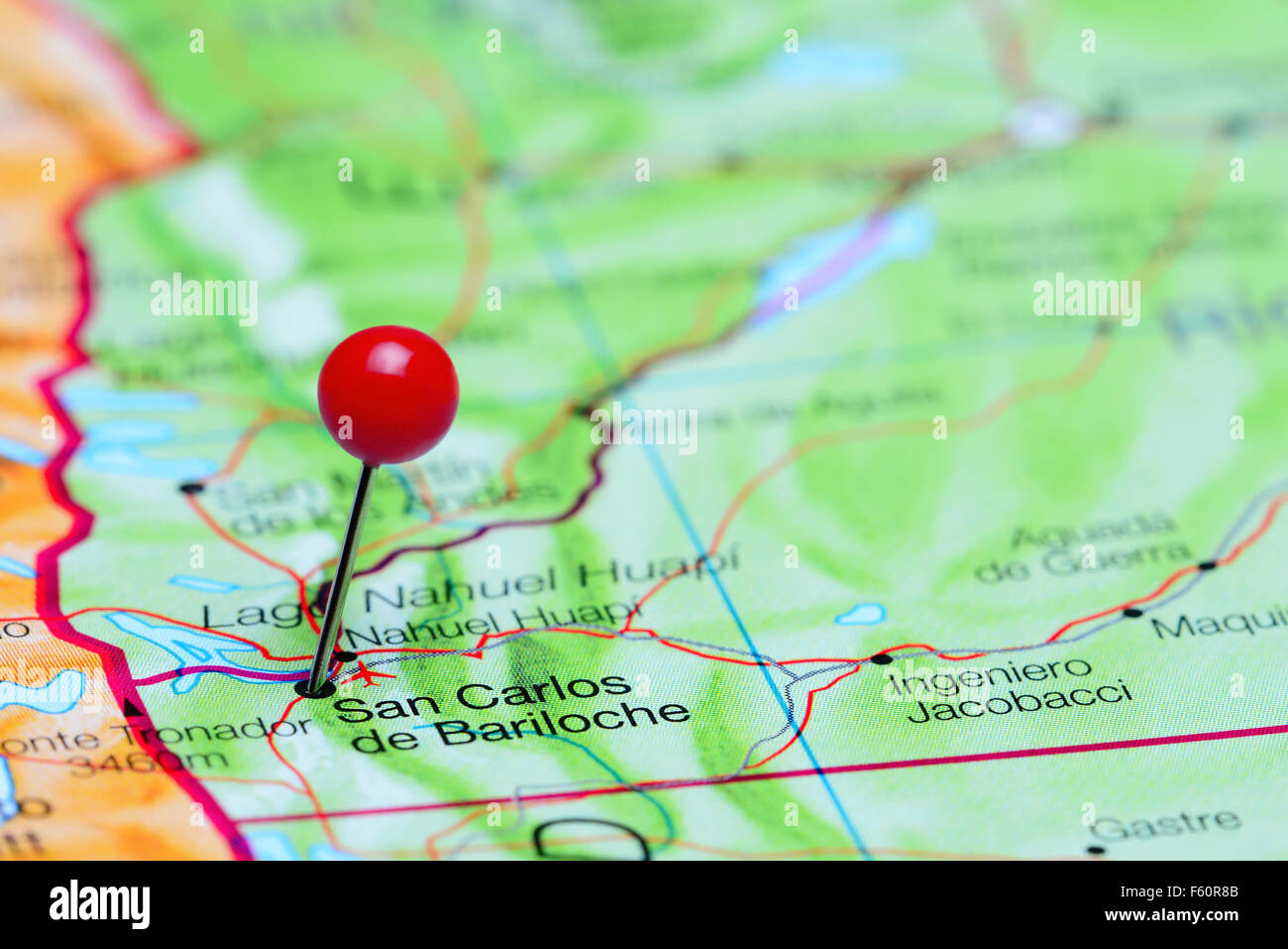 San Carlos De Bariloche Pinned On A Map Of Argentina Stock Photo - Argentina map bariloche