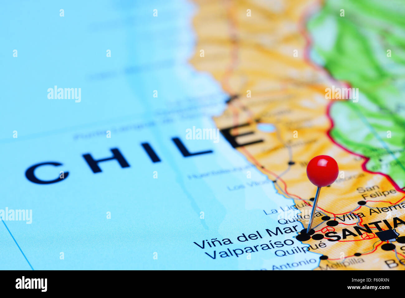 Vina Del Mar Pinned On A Map Of Chile Stock Photo Royalty Free - Viña del mar map