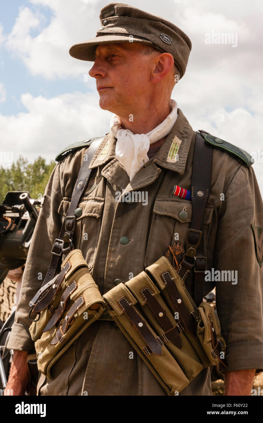 ww2 reenactment wehrmacht german officer standing in