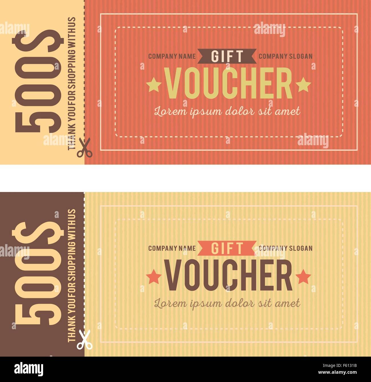Vintage Gift Voucher Vector Template  Gift Voucher Format