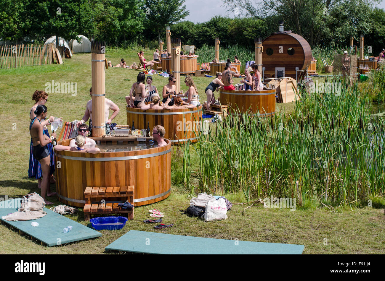 Stock Photo   Hot Tubs For Hire   The Secret Garden Party, Abbots Ripton  Huntingdon , Cambridgeshire 2013. Widely Regarded As One Of The Of  U0027coolestu0027 Of The ...