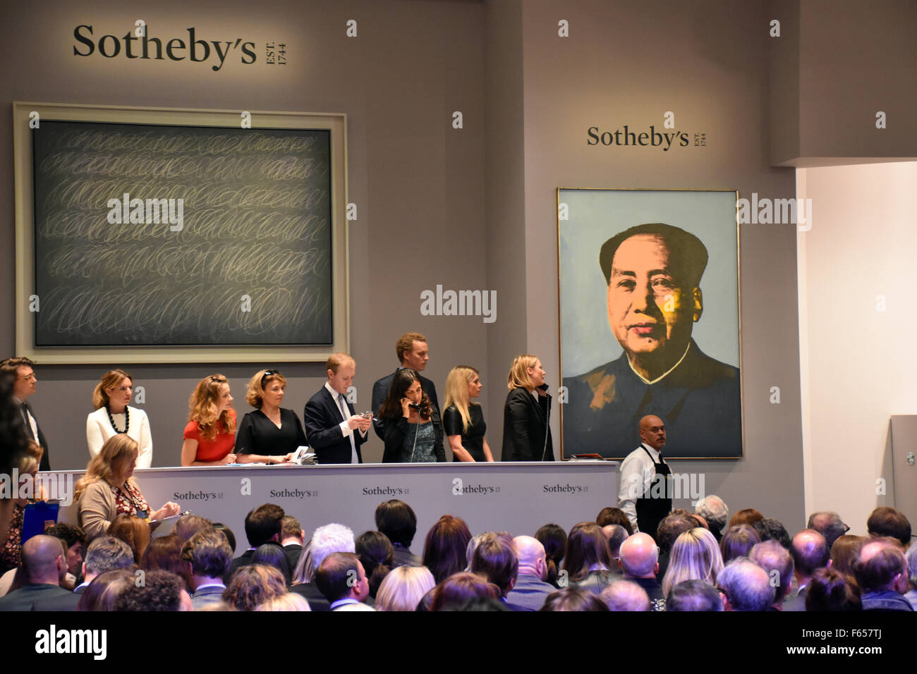 New york usa 11th nov 2015 telephone bidders stand in front of the - New York Usa 11th Nov 2015 Telephone Bidders Stand In Front Of The Two Most Expensive Pictures Of The Evening Untitled By Cy Twombly From 1968 L