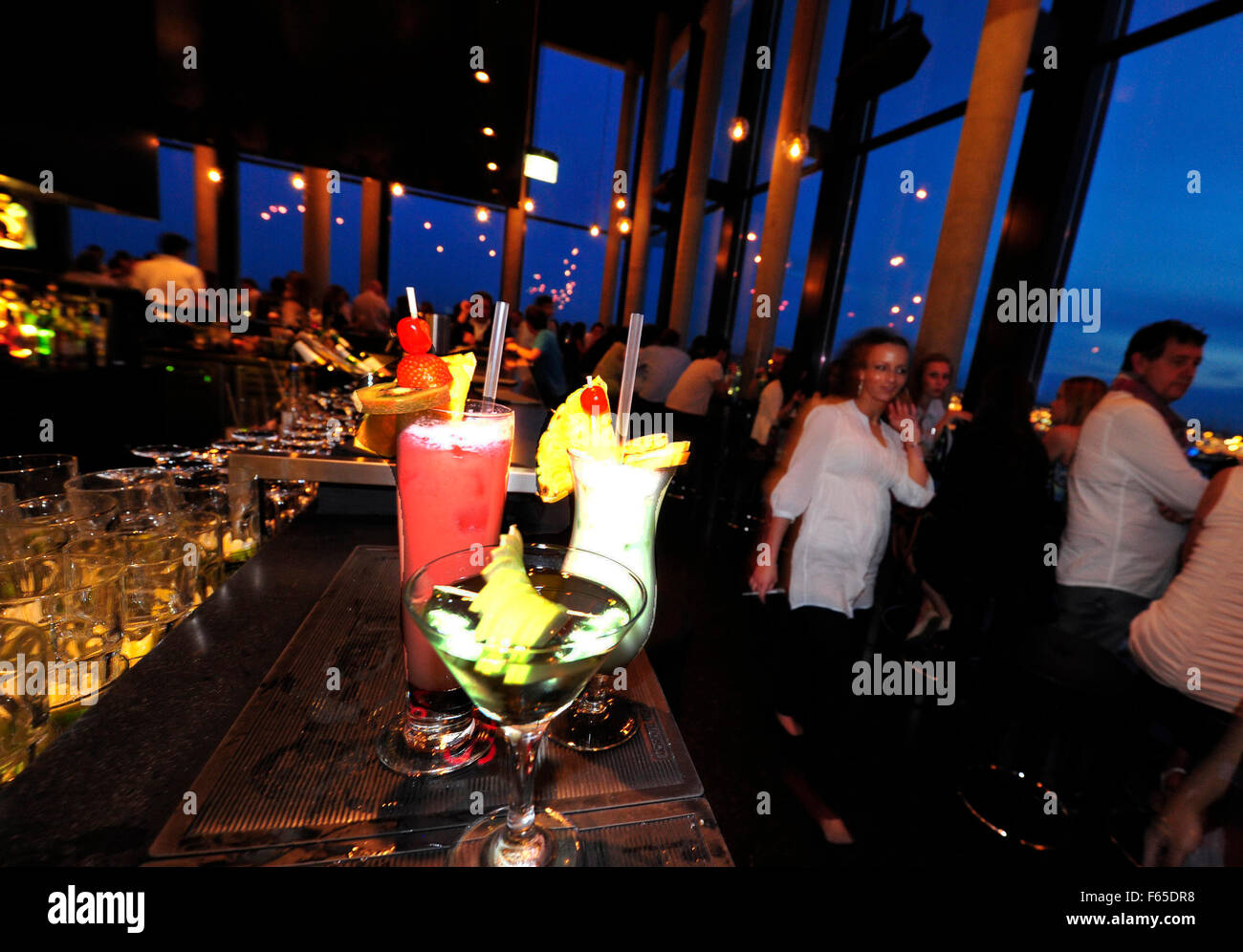 Stock photo hamburg germany riverside new - People At 20up Bar At Empire Riverside Hotel Skybar Hamburg Germany
