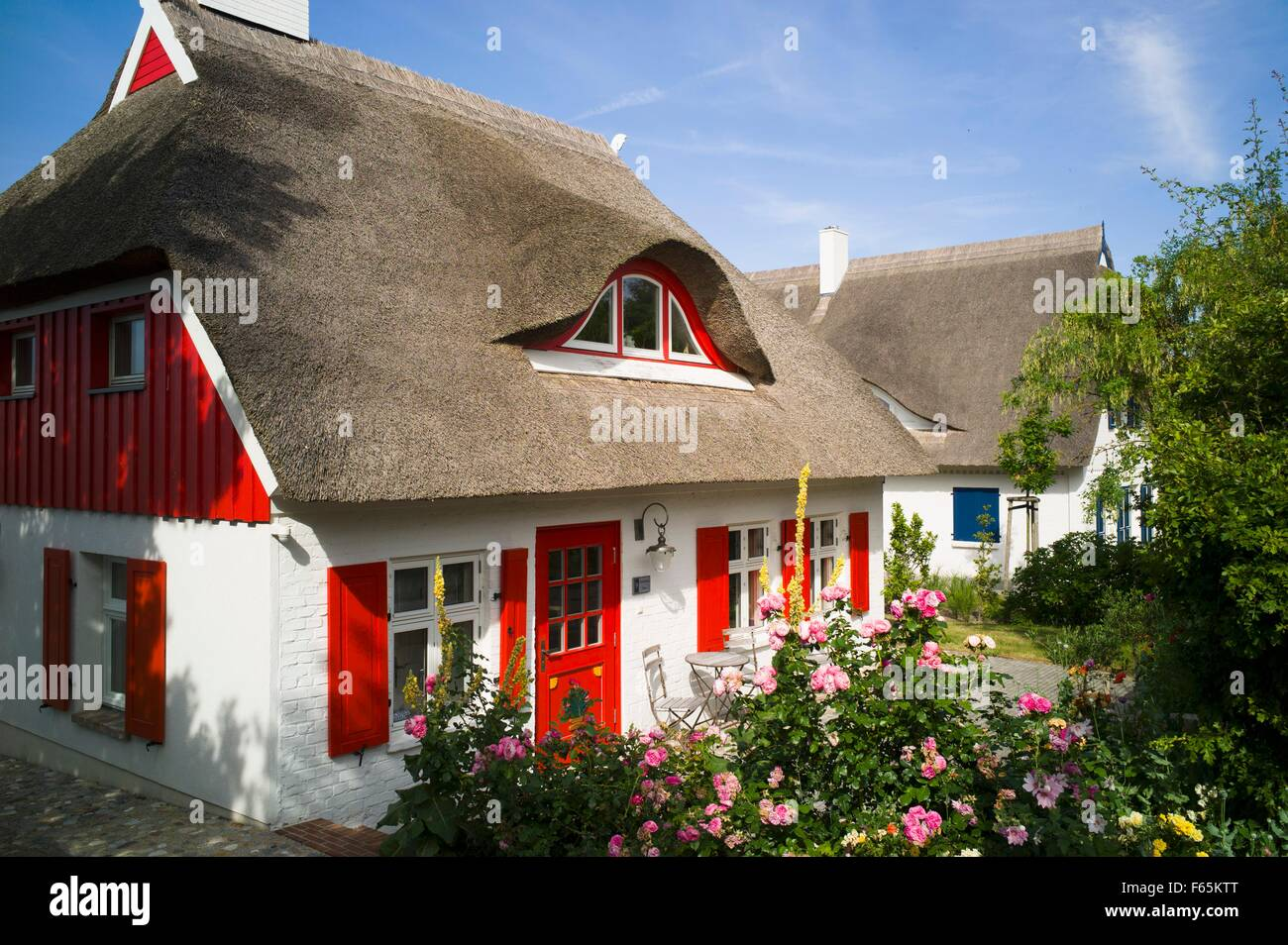 Red Door House a thatched roof house with a red door and shutters, ahrenshoop on