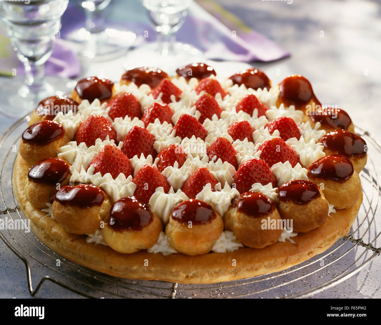 Saint Honore Strawberry Cake Dessert Stock Image