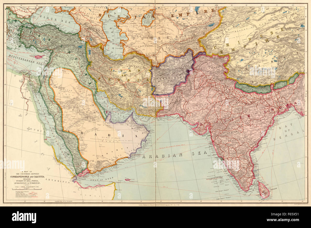 The countries between constantinople and calcutta including turkey constantinople and calcutta including turkey in asia persia afghanistan and turkestan middle east and indian subcontinent pre world war one map gumiabroncs Images