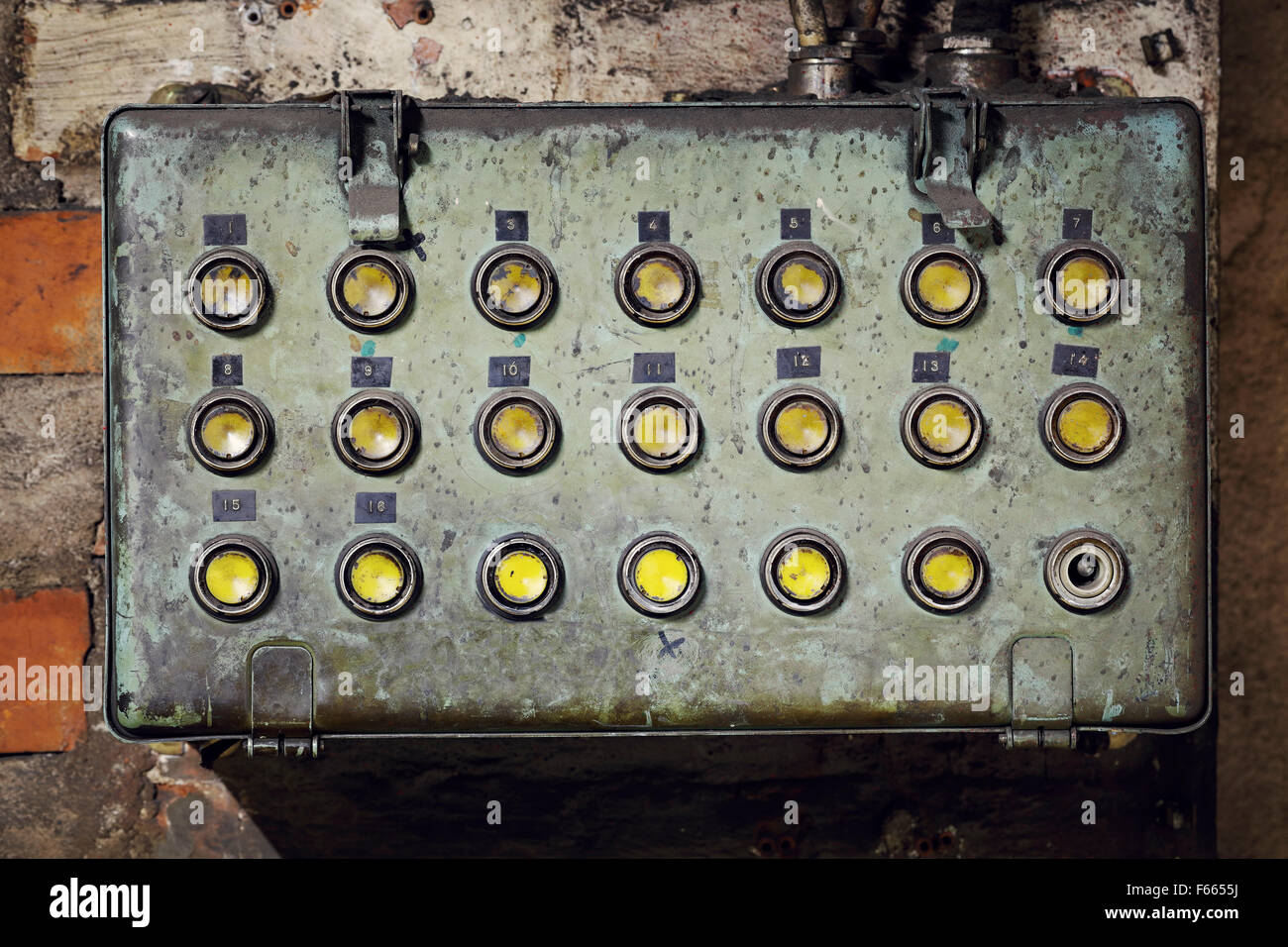 old electrical box stock photos old electrical box stock images old dirty electrical box push buttons in an old abandoned factory stock