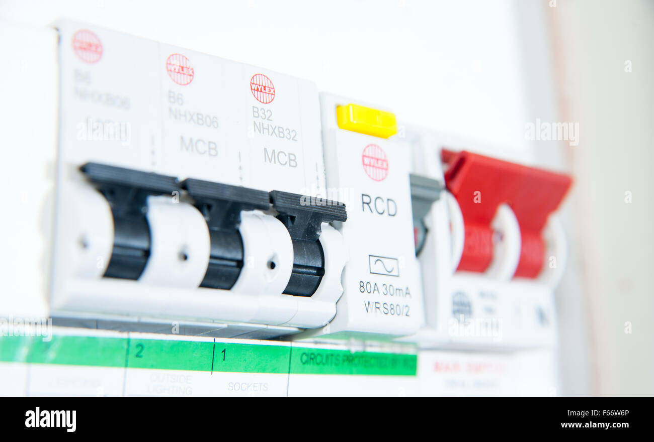 domestic home electrics main fuse box with on off switch uk F66W6P switch off power uk stock photos & switch off power uk stock main power switch fuse box at bayanpartner.co