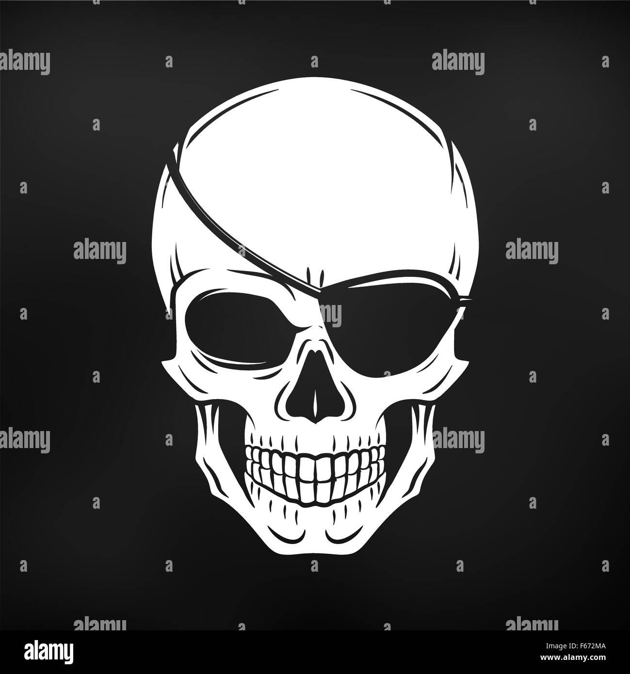 Design t shirt skull - Jolly Roger With Eyepatch Logo Template Evil Skull Vector Dark T Shirt Design