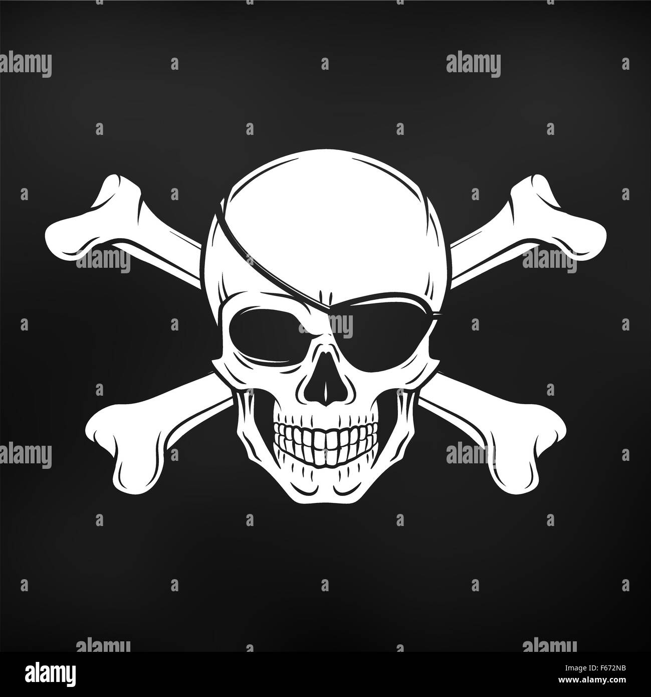jolly roger with eyepatch and crossbones logo template