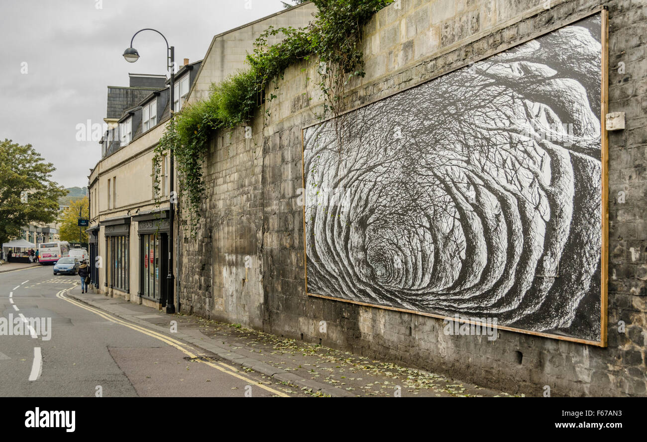 Wall art mural on walcot street in bath england stock for England wall mural