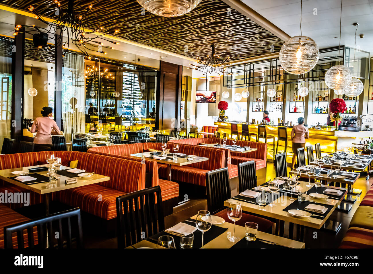 Beautiful italian restaurant interior in jakarta