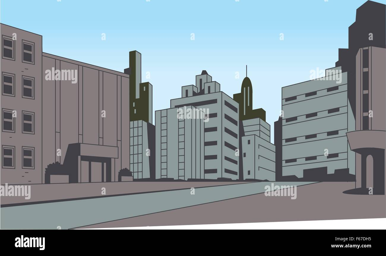 City Street Scene Background for Superhero Comics or ...