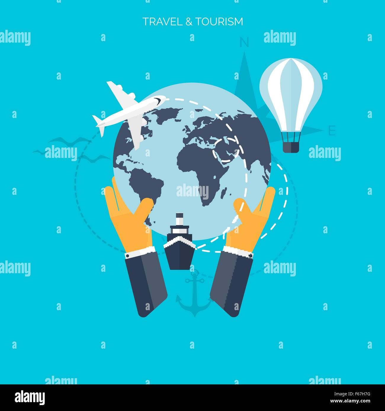 Balloon icon world travel concept background flat icons stock balloon icon world travel concept background flat icons tourisms vacationa ocean land air travelling gumiabroncs Gallery