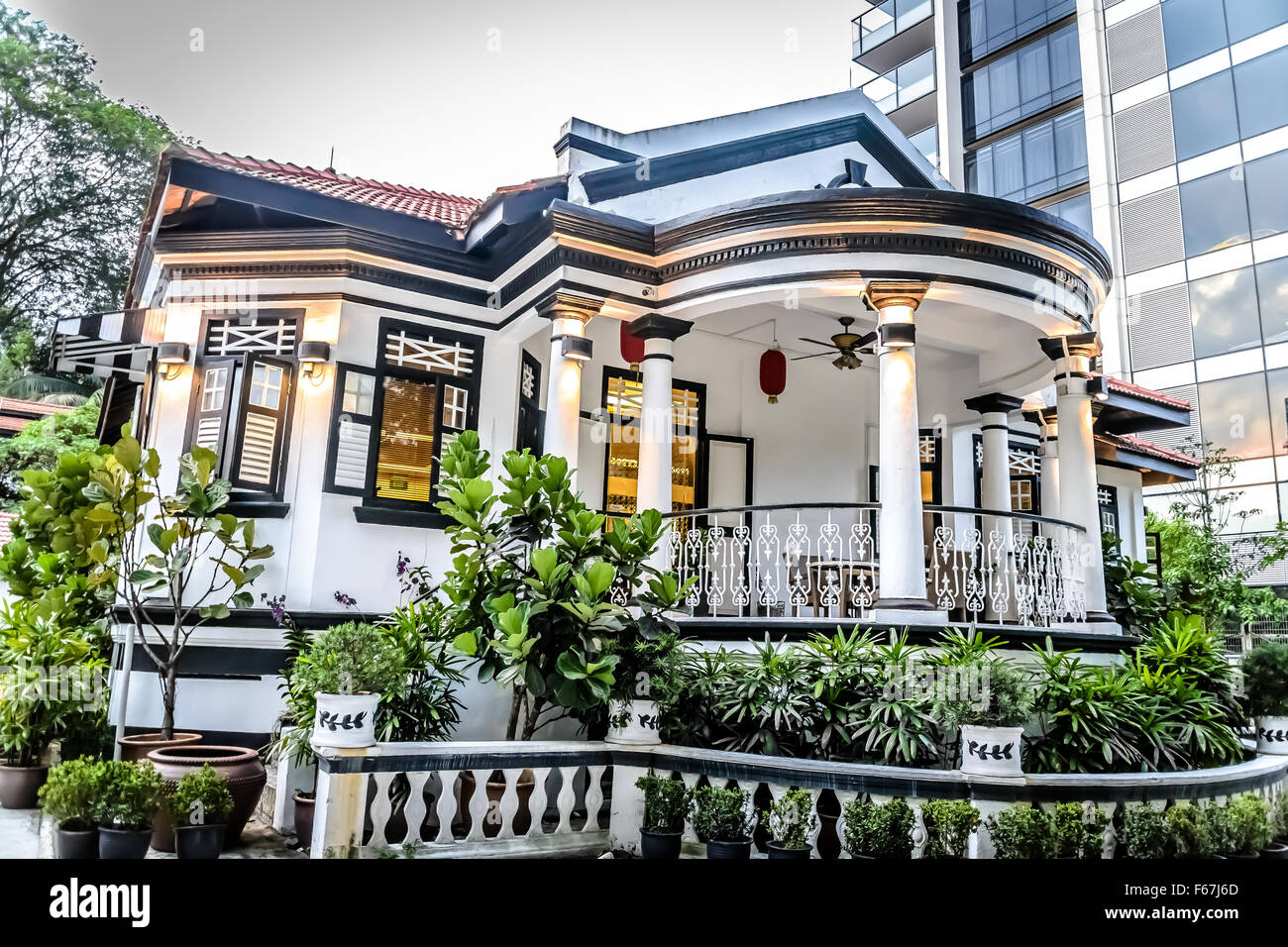 Colonial Black And White House In Singapore Stock Photo