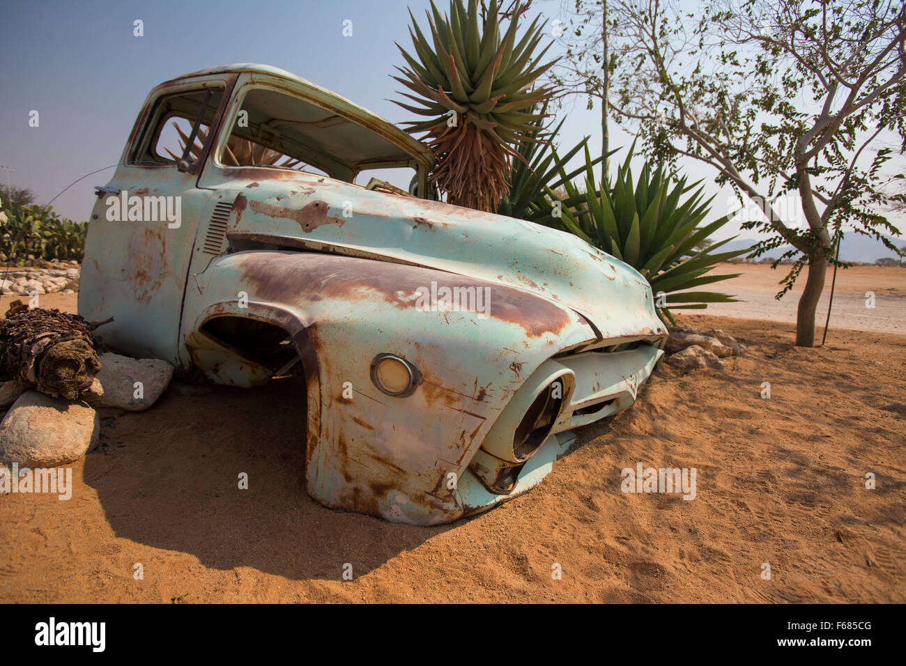 Classic ford pickup truck in solitaire sand dune namibia africa stock image