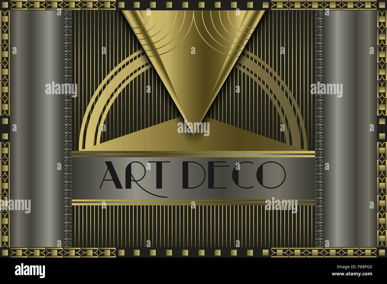 art deco geometric vintage frame for your company name. Black Bedroom Furniture Sets. Home Design Ideas