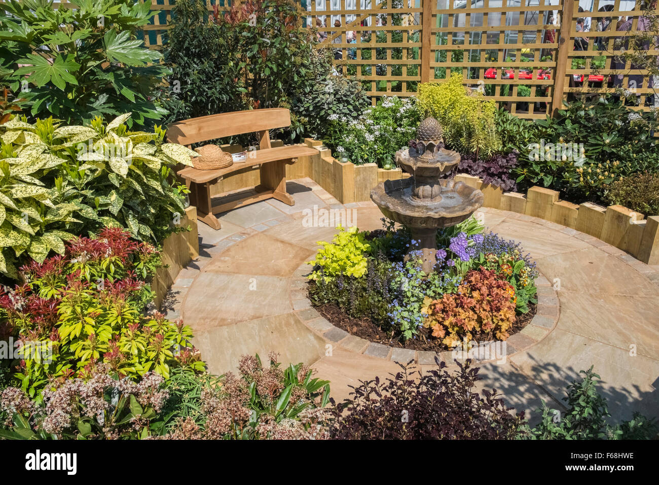 Garden with seating area designed for a small space stock for Garden seating areas