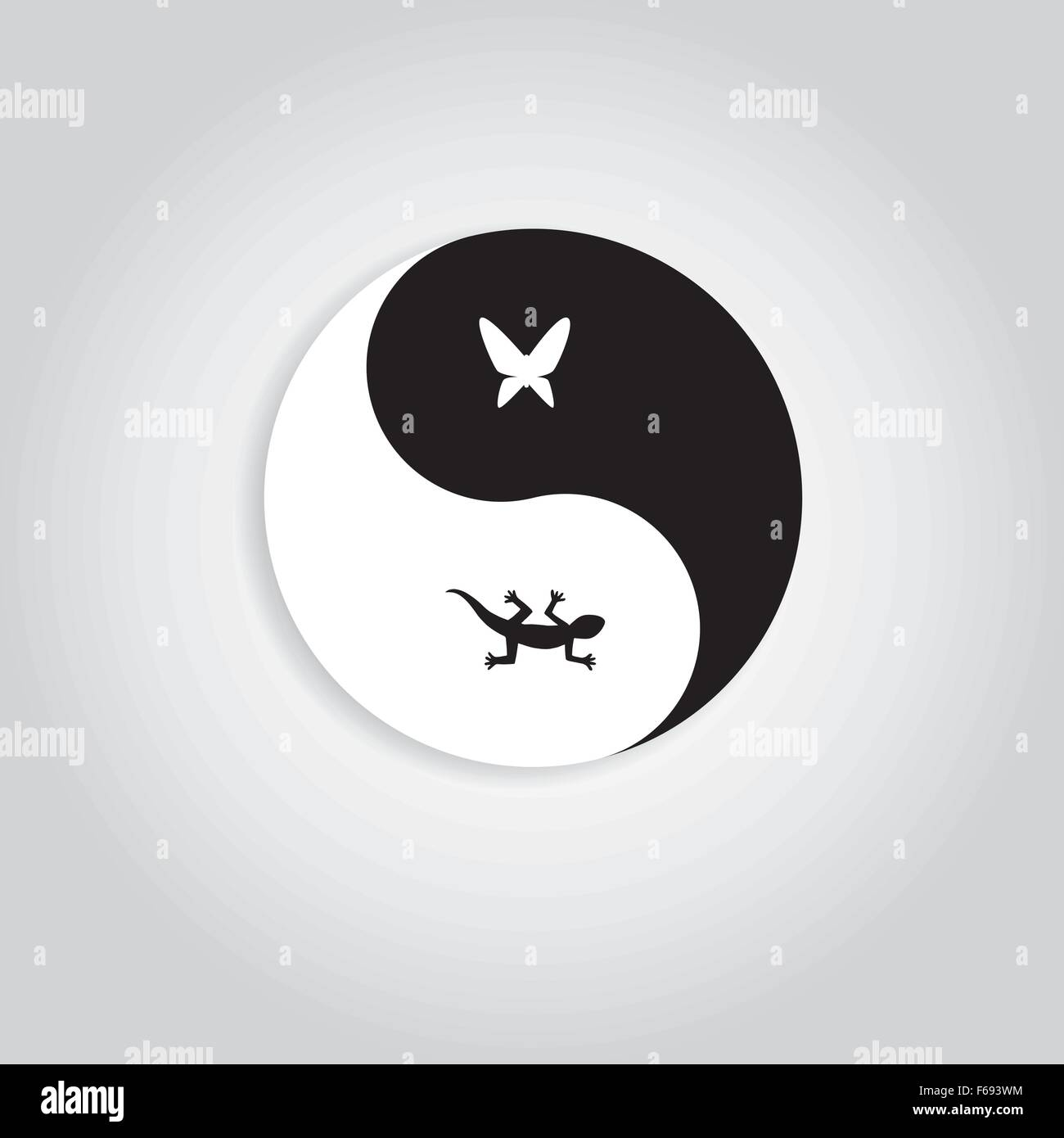 Hunter and prey yinyang logo showing gecko and butterfly in hunter and prey yinyang logo showing gecko and butterfly in yinyang symbol represent to nature life cycle biocorpaavc Image collections