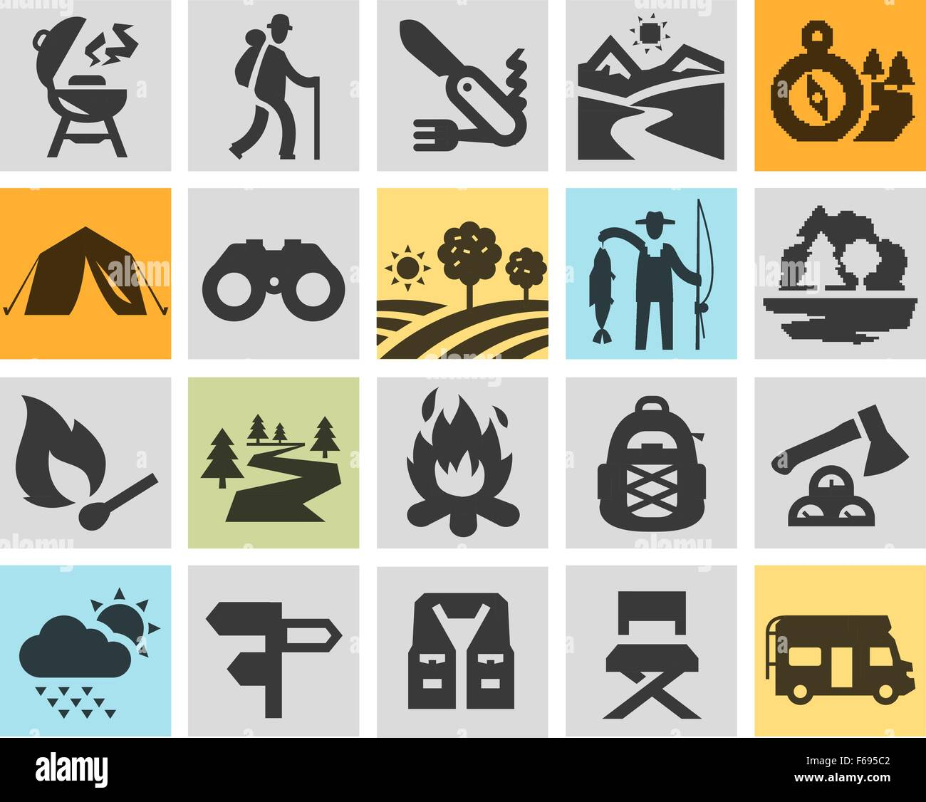 hiking black icons set trip walking tour or expedition