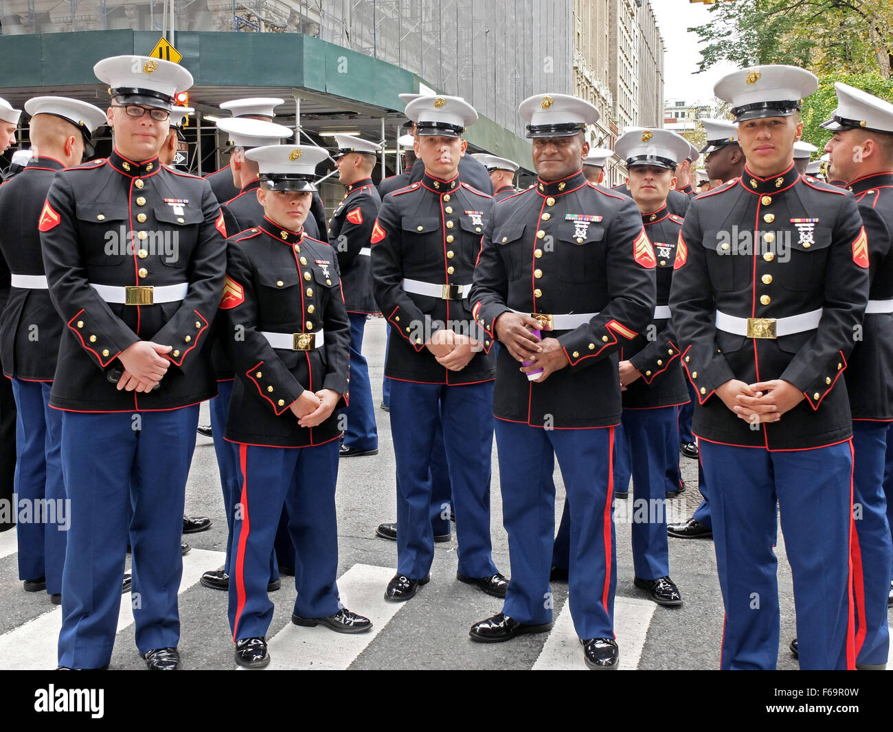 A Group Of United States Marines In Uniform Prior To The