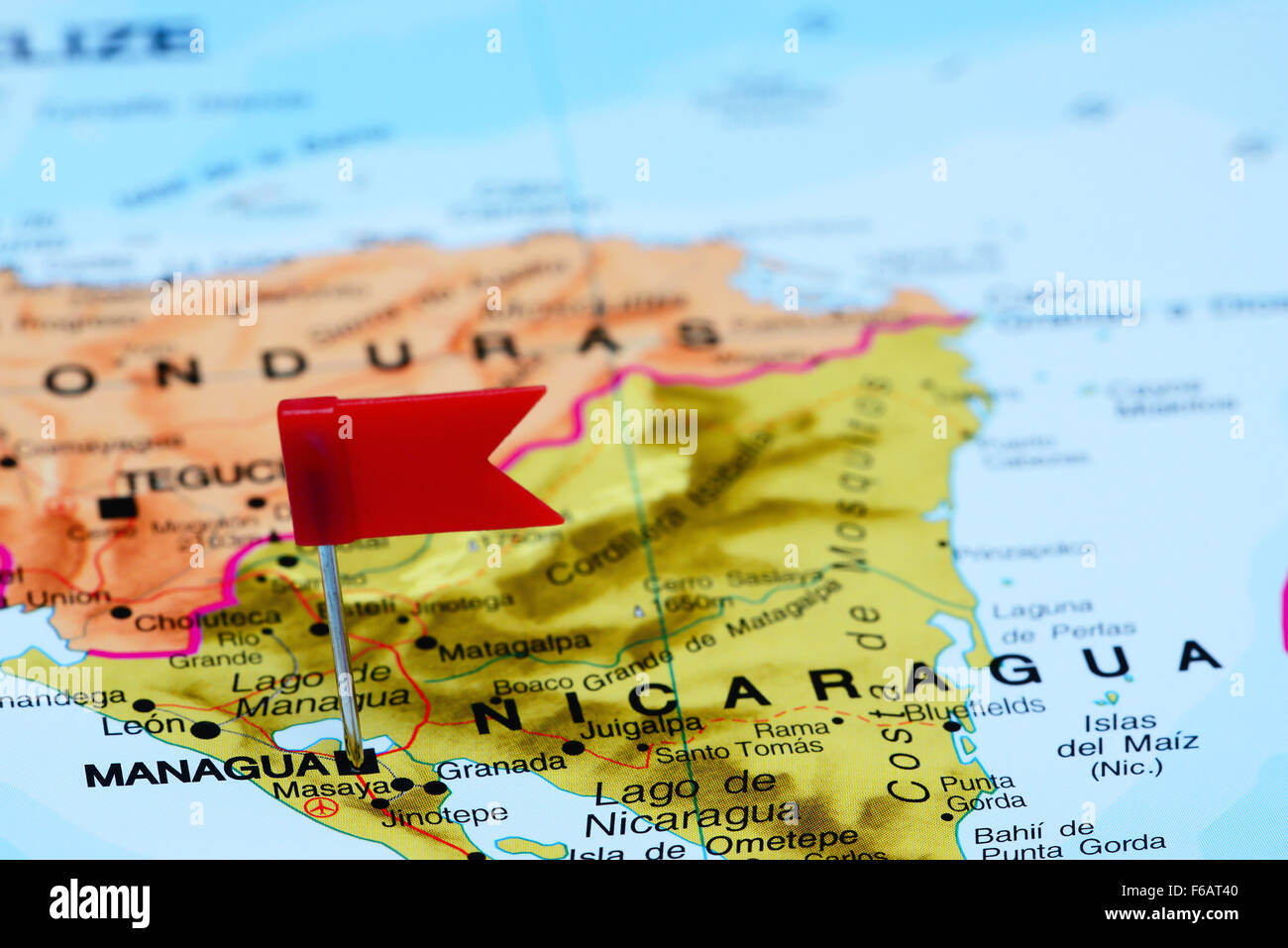 Managua pinned on a map of America Stock Photo Royalty Free Image
