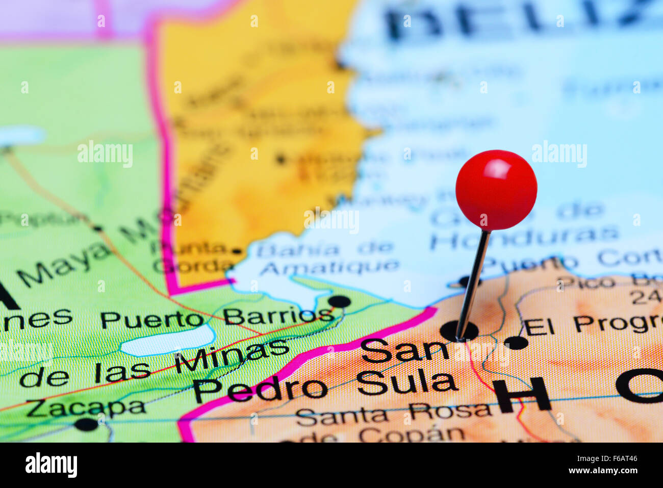 San Pedro Sula Pinned On A Map Of America Stock Photo Royalty - San pedro sula map