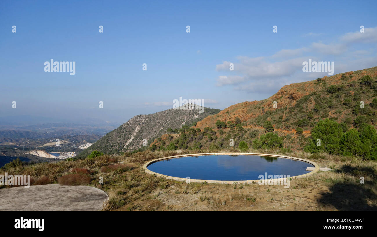 Water Tank Irrigation System : Water deposit tank reservoir in mountains for the