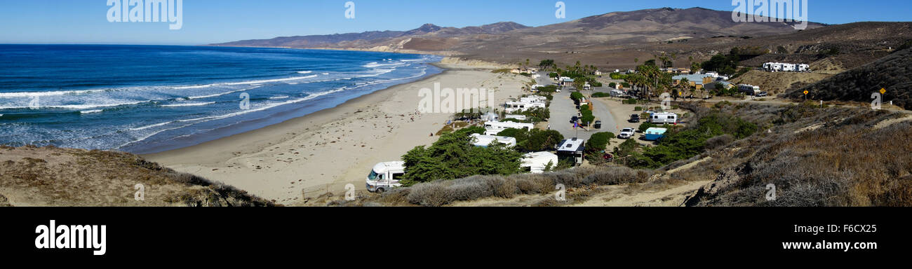 panoramic view of campsite jalama beach and pacific ocean near vandenberg air force base in central california near lompoc usa
