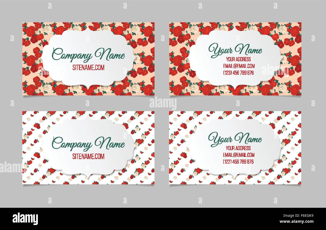 Set of two double-sided floral business cards Stock Vector Art ...