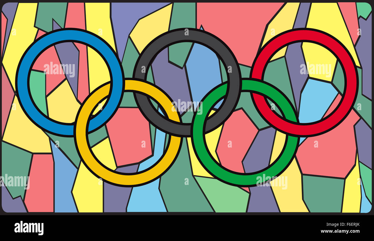 Glass window design - Olympic Rings On A Stained Glass Window Design