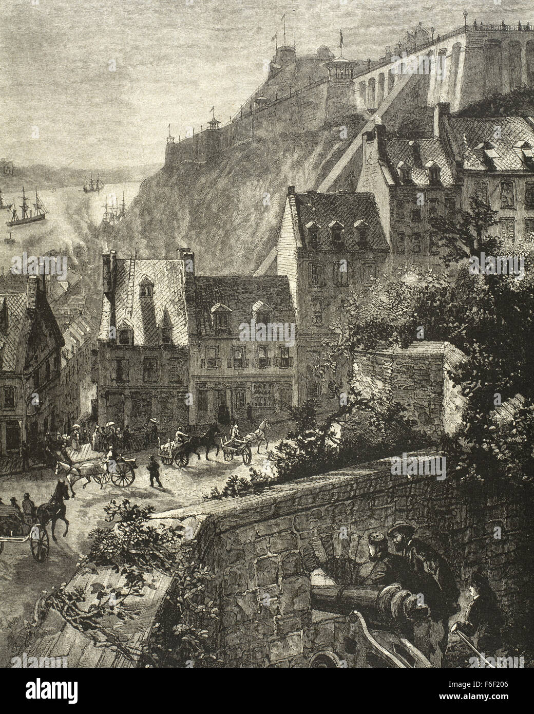 Whalers in action wood engraving published in 1855 stock illustration - Canada Quebec View Of The City From The Ancient Wall Engraving At