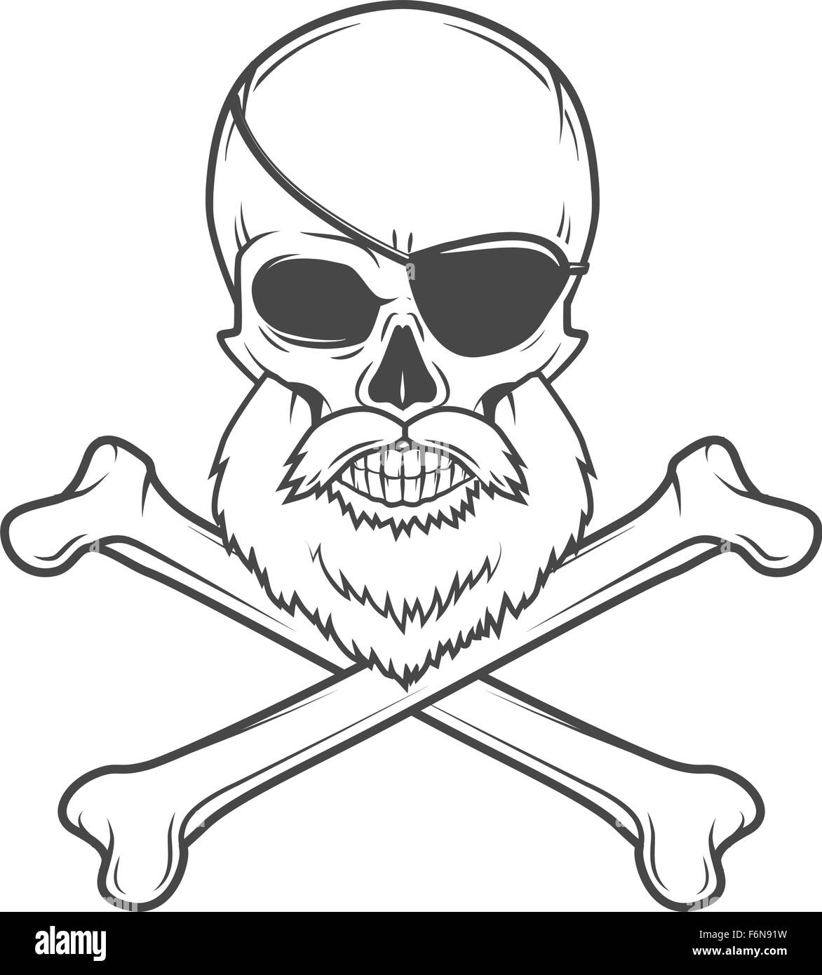pirate skull with beard eye patch and crossed bones vector