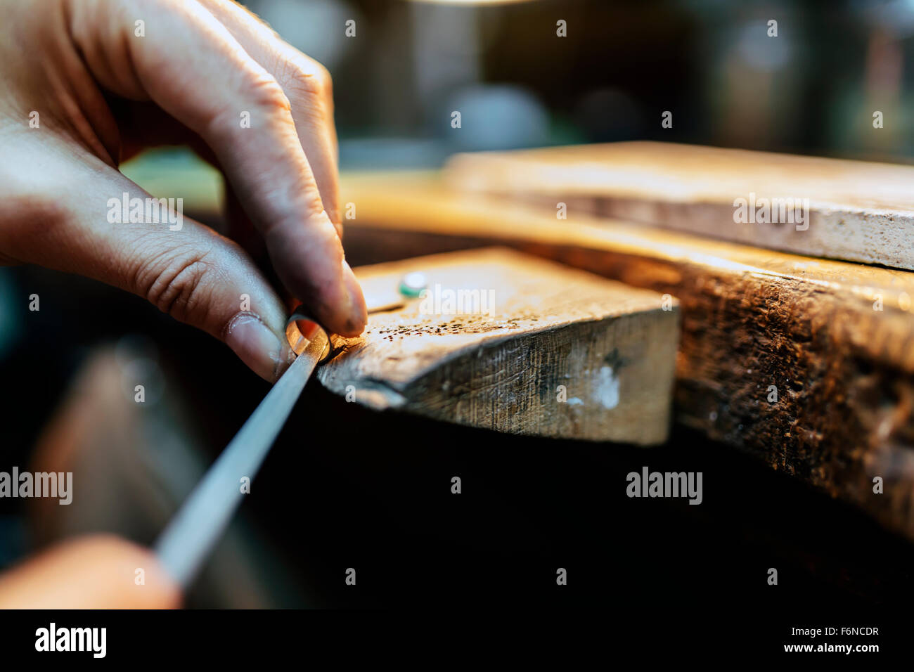 Jeweler working on ring in his workshop Stock Photo: 90210563 - Alamy