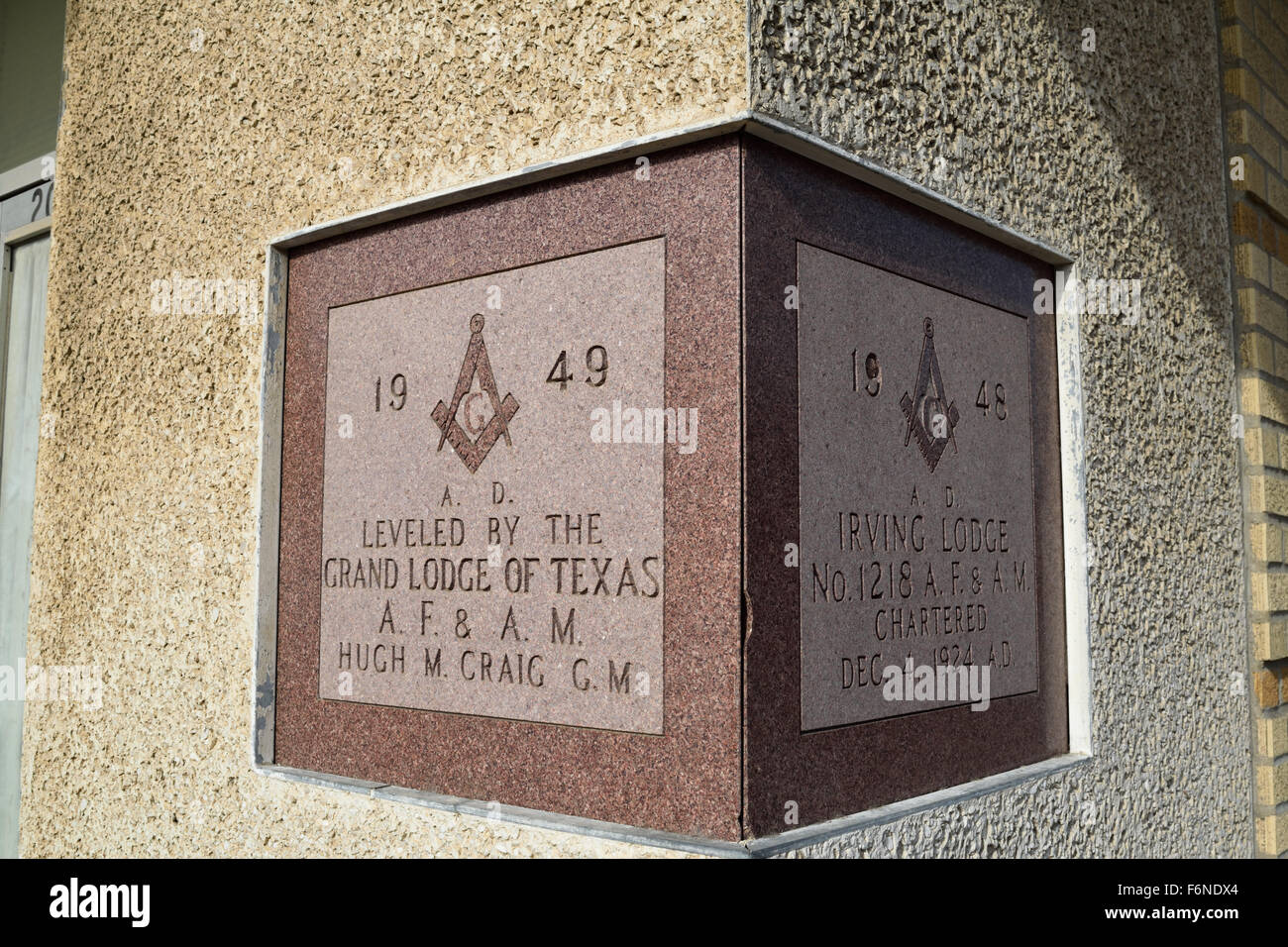Cornerstone Of The Irving Texas Masonic Lodge In Downtown
