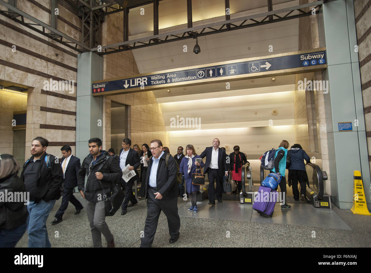 commuters exit penn station on 34th st from the subway long island railroad during the morning rush hour in manhattan