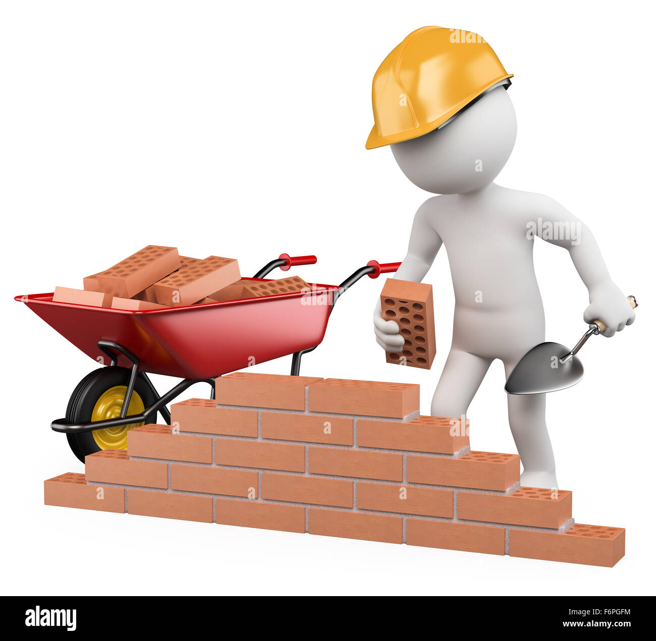 3d White Worker Building A Brick Wall Image Isolated Background