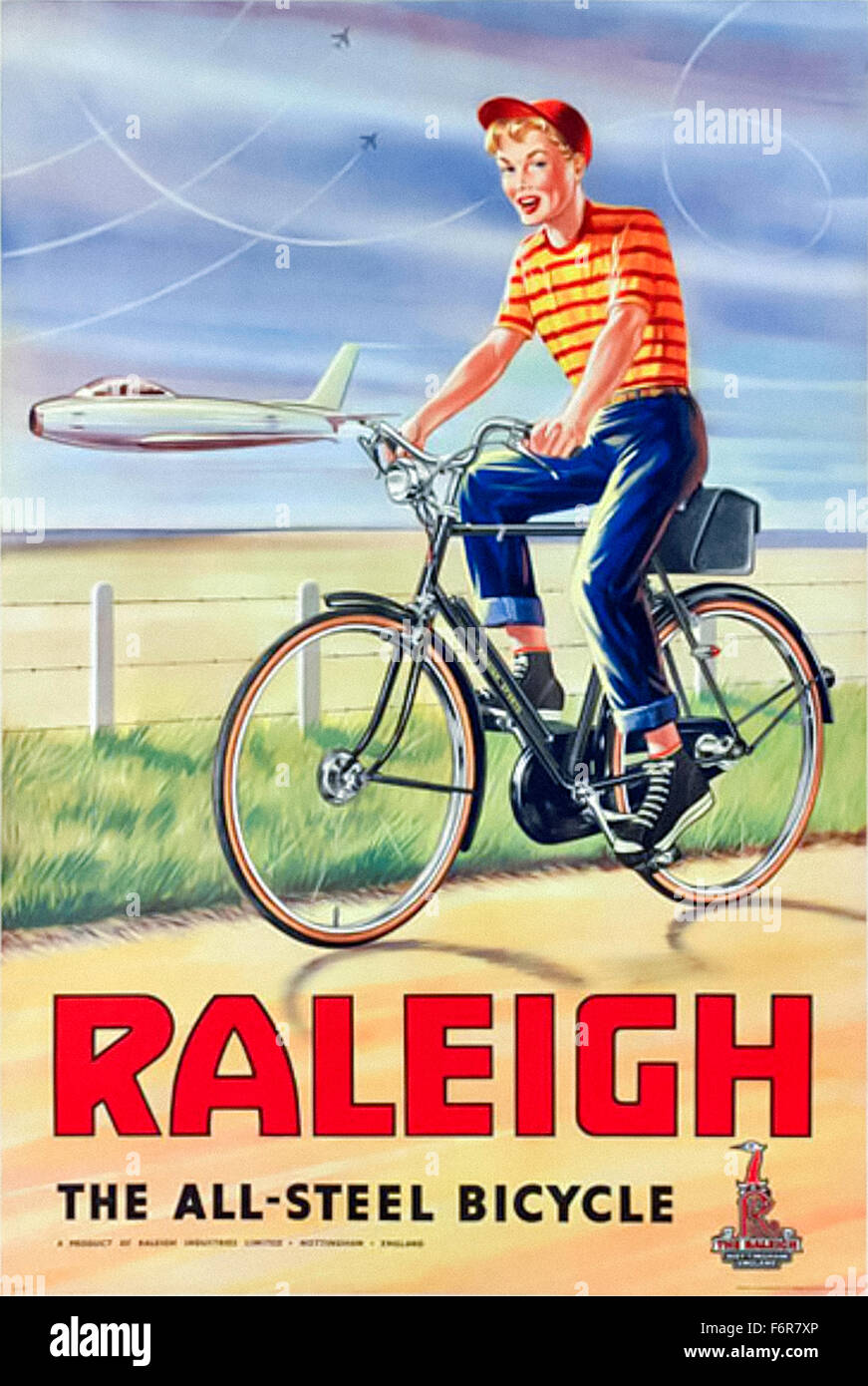 Poster design 1950 - Vintage 1950s Advertising Poster For Raleigh Bicycles Featuring Teenager Riding A Bicycle With Jet Planes
