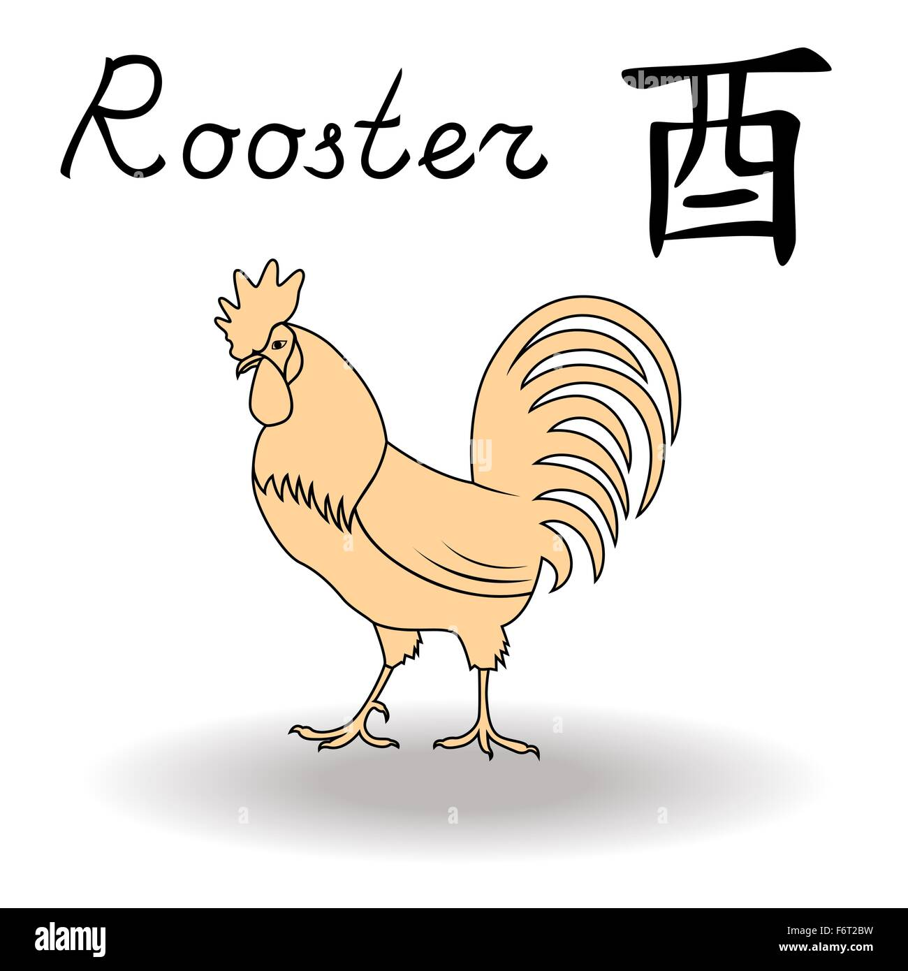 Eastern zodiac sign rooster symbol of new year in chinese eastern zodiac sign rooster symbol of new year in chinese calendar hand drawn vector artwork isolated on a white background buycottarizona