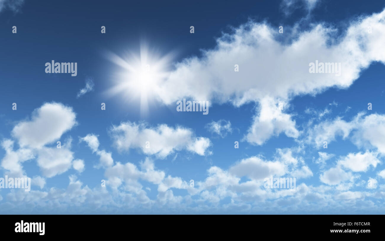 3D render of a sunny blue sky with clouds Stock Photo ...
