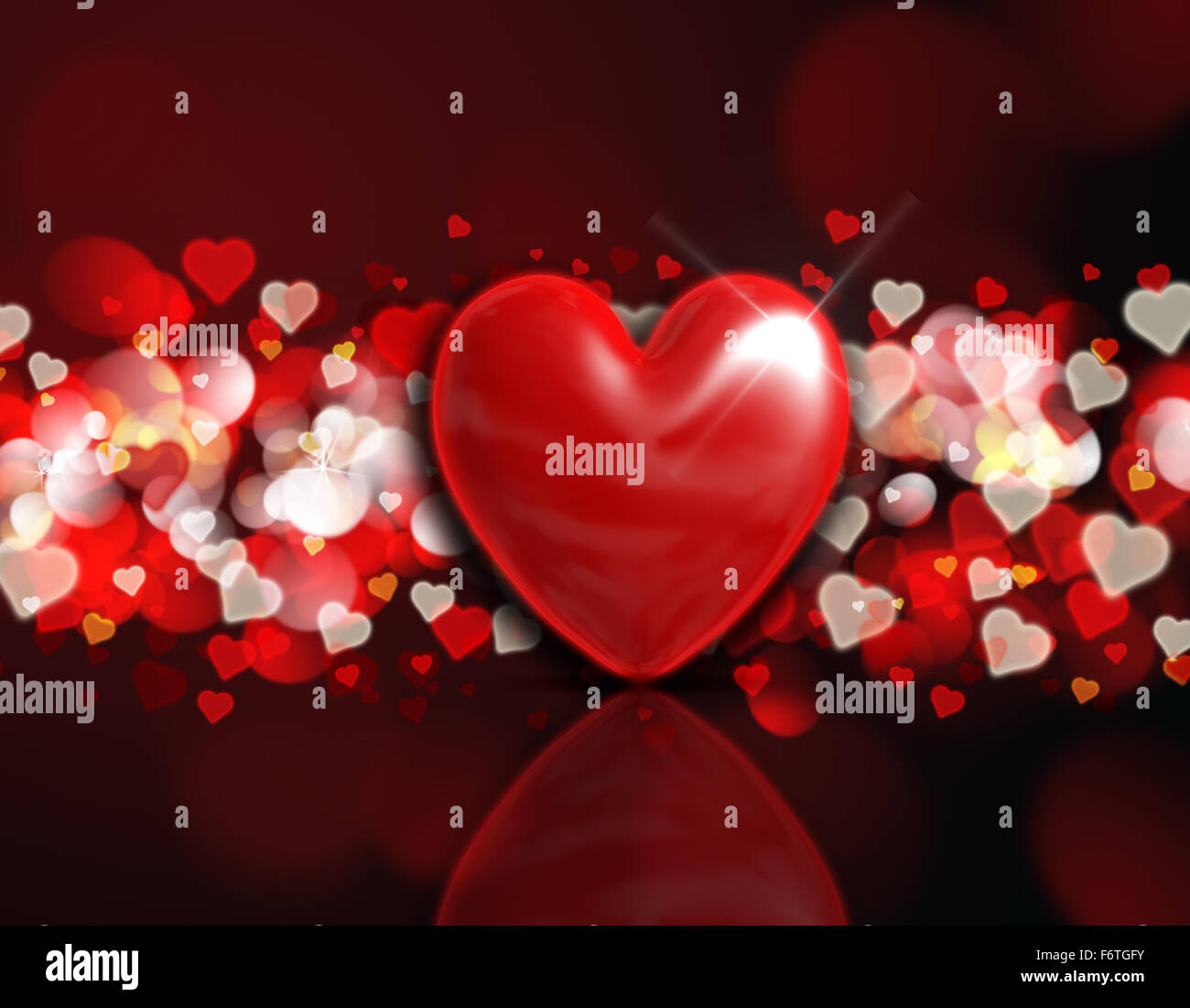 valentines day background with a 3d heart on a red and gold bokeh lights design