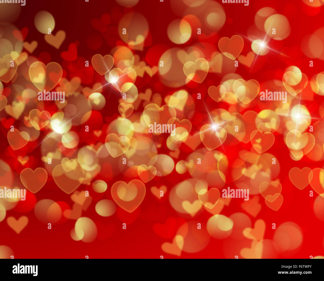 valentines day background with heart shaped bokeh lights