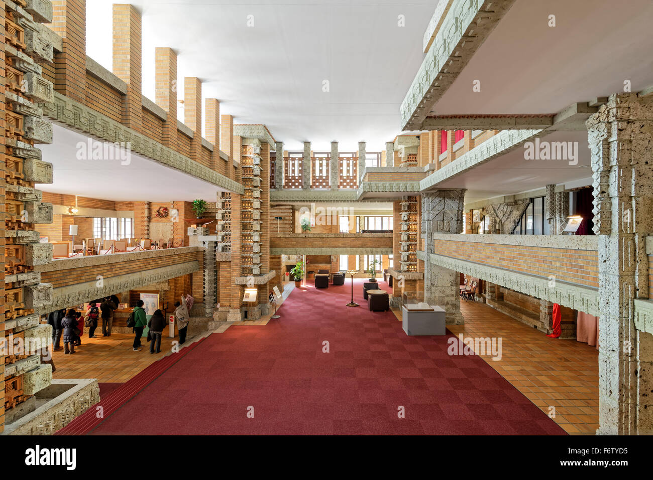 lobby of frank lloyd wright 39 s imperial hotel in japan stock photo royalty free image 90288161. Black Bedroom Furniture Sets. Home Design Ideas
