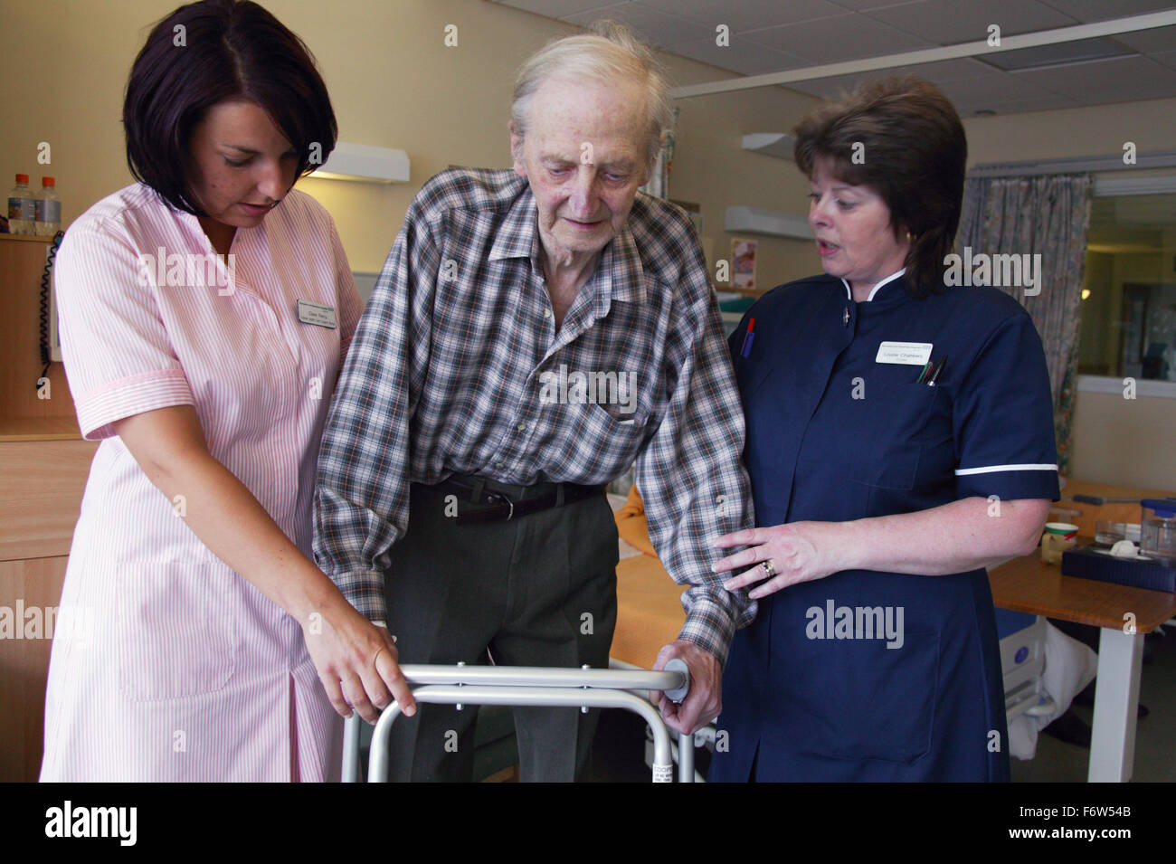 nurse with disability and health care worker assisting elderly